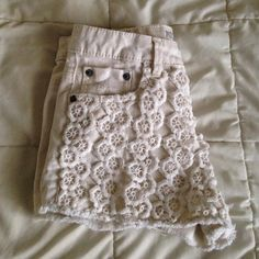 || High Waisted Shorts || The High Rise Cream Crochet style, in brand new condition. Worn once, no holes or stains.  -Smoke Free Home- Mossimo Supply Co. Shorts Jean Shorts
