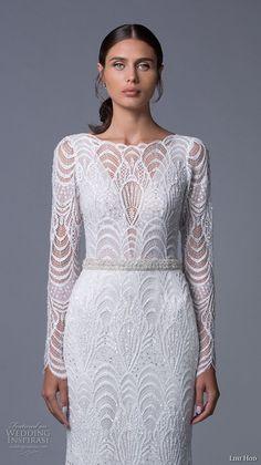 lihi hod 2017 bridal long sleeves bateau neckline full embellishment elegant sophiscated lace a  line wedding dress low back sweep train (sahara) zv -- Lihi Hod 2017 Wedding Dresses