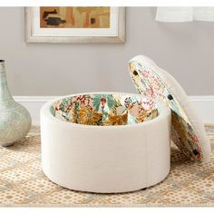 The Safavieh Mercer Collection Victoria Beige Linen Shoe Ottoman offers the joys of any ottoman such as being used as an extra seat, a foot rest for relaxin White Storage Ottoman, White Ottoman, Get Healthy, Round Tufted Ottoman, Beige Shoes, Fabric Shoes, Victoria, Shoe Storage, Storage Ideas