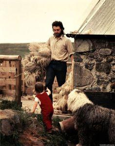 Paul and Mary McCartney with Martha their sheepdog. Scotland circa early 1970's