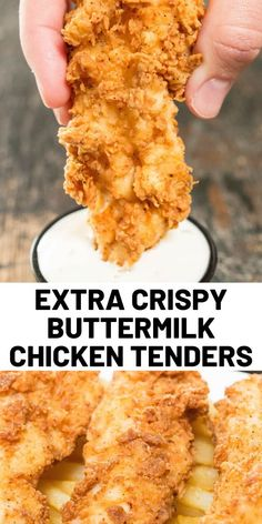 These extra crispy homemade chicken tenders with buttermilk are coated with the perfect seasoning. These extra crispy homemade chicken tenders with buttermilk are coated with the perfect seasoning. Chicken Tender Recipes, Meat Recipes, Cooking Recipes, Chicken Tenderloin Recipes, Dinner Recipes, Parmesan Recipes, Cooking Food, Buttermilk Chicken Tenders, Crispy Chicken Tenders