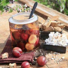 Vin santo plommon med mandelmarcarpone & biscotti