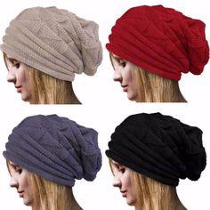 a534e7655e1 Fashion Warm Winter Women Beret Braided Baggy Knit Crochet Beanie Hat Ski  Cap