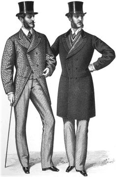 The Crinoline Period: Both men wear top-hats. Man on right has a velvet faced lapels. Both wear frock coats with the waistline seam but not as fitted as previous periods. Victorian Mens Fashion, Vintage Fashion, Derby Outfits, 19th Century Fashion, 18th Century, Historical Clothing, Men's Clothing, Fashion Plates, Fashion History