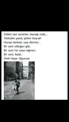 Gülleri sarı severim; toprağı ıslak ... Ümit Yaşar Oğuzcan Asdf, Best Quotes, Poems, Best Quotes Ever, Poetry, Poem