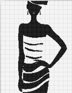0 point de croix silhouette femme robe rayée - cross stitch girl in striped dress