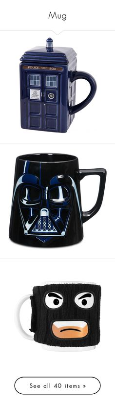 """Mug"" by noa005 ❤ liked on Polyvore featuring home, kitchen & dining, drinkware, doctor who mug, dr who mug, star wars mug, darth vader mug, face mug, ceramic tea mug and ceramic coffee mugs"