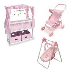 Badger Basket Canopied Doll Crib Furniture Set, Feature Doll Swing - Badger Basket - 01723-SET1 $134