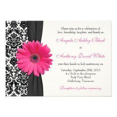 Gerber Daisy Pink Black White Damask Wedding Custom Invitation