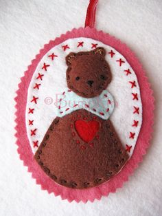 """""""Love You Beary Much"""" Felt Ornament and Hand Embroidery Pattern by Bumpkin on Etsy."""