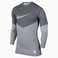 1afb77eb7ea3a0 699974-100 New w tag Nike Me PRO HYPERWARM fitted PRINTED Lines crew neck  SHIRT