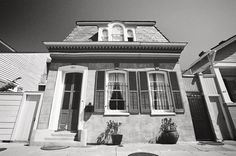 French Quarter Cottage, New Orleans Louisiana, Black and White Photography, Vieux Carre, Black & White Photo