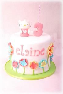 hello kitty birthday cake- I like the flowers!