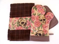Resting in Roses Skulls Roses Oven Mitt Pot Holder Set Chocolate Brown Pin Dot Trim with optional towel by SEAMSTOSEWMARSHA on Etsy