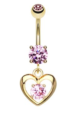 Golden Colored Heart Glass-Gem Sparkle Belly Button Ring