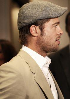 Mens Newsboy Hat, Brad Pitt Photos, Tweed, Thelma Louise, Flat Hats, Beard Lover, Jesse James, News Boy Hat, Beard Styles