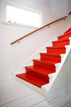 red painted stair runner for the basement stairs Painted Stairs, Painted Floors, Home Interior, Interior Design, Deco Cool, Take The Stairs, Red Cottage, Stair Steps, Stairway To Heaven