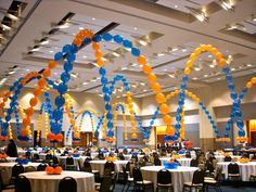 sports banquet centerpieces | Balloon Designs | Fabric Draping | Knoxville Event Decor | Decorations ...