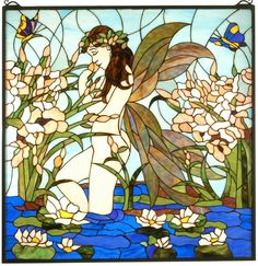 "Meyda Tiffany 30"" Sq Pond Fairy Female Nude Square Stained Glass Window 67521   eBay"