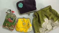 Lees börsar med metallknäppen Textiles, Easy Sewing Projects, Small Bags, Jewelry Crafts, Coin Purse, Lunch Box, Wallet, Small Things, Baskets