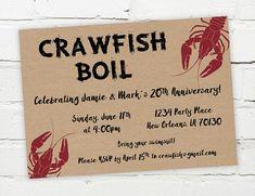 Printable Digital Crawfish Boil Invitation #crawfish #crawfishboil #invitation #seafood #southern #engagement