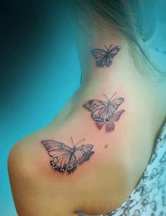 Shoulder Tattoos for Women | 3D flying butterflies tattoo on shoulder and neck - Tattoo Mania