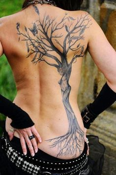 Tree with roots and butterfly tattoo on back for girls