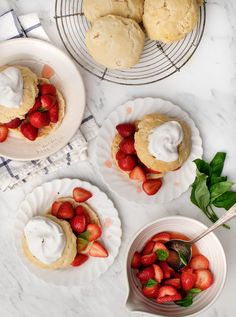 I love strawberries, I love basil and I love this sweet classic dessert in the spring and summertime. Flaky biscuits with a juicy strawberry filling.