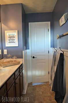 A Nautical Bathroom Retreat! - Have you ever taken a vacation to a boathouse on the lake? doesn't that sound so nice and peaceful? That's what I wanted to Diy Bathroom Vanity, Nautical Bathrooms, Shower Stall, Bathroom Interior, Nautical Bathroom Decor, Modern Bathroom Decor, Diy Vanity, Bathrooms Remodel, Bathroom Decor