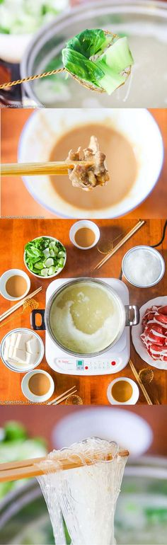 Chinese Mongolian Hot Pot - celebrate Chinese New Year with this one pot dinner. It's like fondue with a special dipping sauce ~ http://jeanetteshealthyliving.com