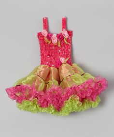 Hot Pink & Lime Gia Party Dress - Toddler & Girls by Fairy Dreams #zulily #zulilyfinds