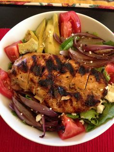 Lunch: Fancy Lettuce blend with julienne carrots white balsamic dressing, tomato, avocado, red onion, feta cheese, and grill honey chipotle chicken breast.