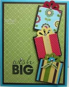 Cute b-day card using a flower punch for the bow.