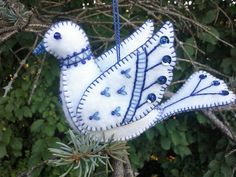 White and Blue Wool Felt Dove Ornament by PatriciaWelchDesigns