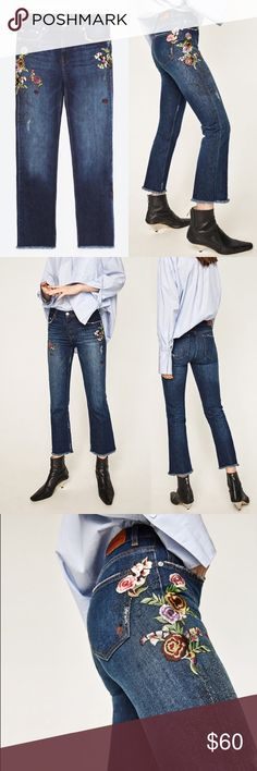 Zara Embroidered Jeans Cropped Embroidered Jeans. Mid rise jeans with five pockets. Distressed detail on the piping. Floral embroidery at the sides. Cropped cut hem. Euro 36 US 4 Zara Jeans Ankle & Cropped