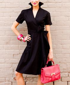 Black Sleek Shadow Side-Bow Dress | Daily deals for moms, babies and kids