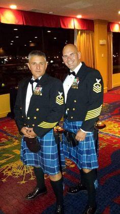 Navy Chiefs in US Navy tartan kilts