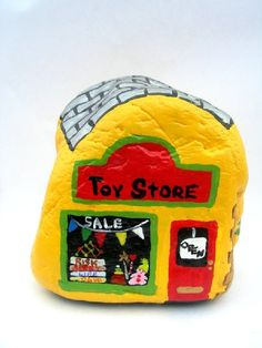 Hand Painted Rock Toy Store Shop Colorful by TheBeadedEgg on Etsy, $12.99