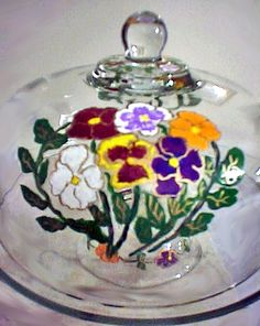 cake plates, cake stand hand painted in various color pansies etched in gold. Come pick in our garden.......$80.00  http://www.clearlysusan.com/Hand-painted-Pansy-Design-Cake-Plate-_p_137.html