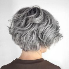 Layered Wavy Gray Bob