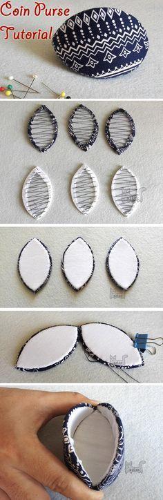 Olive Coin Purse. Photo Sewing Tutorial. Step by step DIY. http://www.handmadiya.com/2016/01/olive-coin-purse-tutorial.html #diypurse