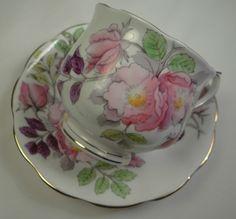 Royal Albert Bone China Tea Cup & Saucer DOG ROSE # 6 Pink Flower Month Series