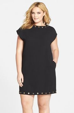 Calvin Klein Grommet Detail Short Sleeve Crepe Shift Dress (Plus Size) available at #Nordstrom