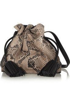 Loewe Flamenco python and leather shoulder bag | NET-A-PORTER
