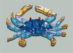 Glass Mosaic Crab Peacock aqua with amber claws Mosaic Crafts, Mosaic Art, Mosaic Glass, Mosaic Tiles, Tile Crafts, Mosaic Projects, Stained Glass Patterns, Mosaic Patterns, Swimming Pool Mosaics