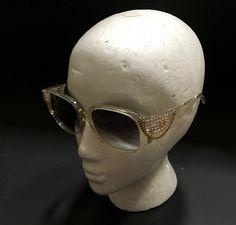 76821d0e089e Emmanuelle Khanh Sunglasses Crystals Chain Handmade Paris Clear Frame  Emmanuelle  Khanh  vintage  sunglasses