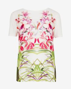 Mirrored tropics T-shirt - Cream | Tops & T-shirts | Ted Baker UK