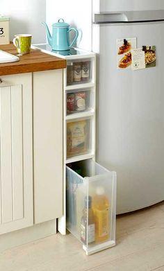 организация пространства между раковиной и холодильником на кухне