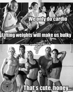 Fitness Humor # 100 Fitness humor # 100 We only do cardio. Lifting weights makes us bulky. That's cute, honey. Fitness Humor # 100 Fitness humor # 100 We only do cardio. Lifting weights makes us bulky. That's cute, honey. Fitness Humor, Fitness Logo, Fitness Motivation, Sport Fitness, Gym Humor, Workout Humor, Fitness Quotes, Fitness Goals, Health Fitness