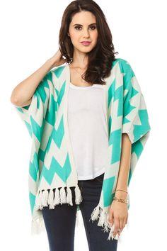 Take Cover Chevron Cardigan in Mint / ShopSosie #mint #ivory #fringe #poncho #cardigan #shopsosie #Style #Fashion #Dress